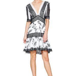 Tadashi Shoji Black & White Lace Marielle Dress, 12